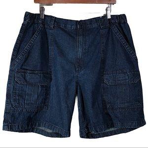 Savane Men's Dark Wash Denim Cargo Shorts
